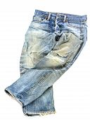 Old Used Jeans Trousers Isolated