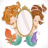 Two mermaid holding a big mirror