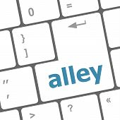 Alley Words Concept With Key On Keyboard