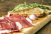 Spanish Ham With Toasts, Focus On Garlic