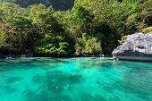 Inside the big lagoon of the Miniloc island, El Nido, Philippines