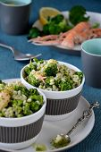 picture of norway lobster  - Broccoli salad with pearl barley and Norway lobster - JPG