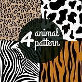 stock photo of leopard  - Seamless Animal Skin Pattern set - JPG