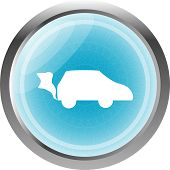 Car Icon On The Round Web Button Isolated On White