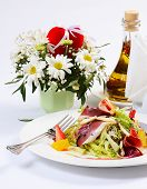 foto of duck breast  - Salad with smoked duck breast close up - JPG