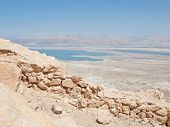 picture of masada  - view of Dead Sea from fortress Masada Israel - JPG