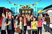 pic of food truck  - A vector illustration of people having fun in street food festival - JPG