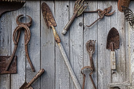 picture of yesteryear  - A collection of antique rusted old garden and ranch tools hang on a weathered shed wall in an artistic collage - JPG