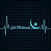 image of kaba  - Creative calligraphy of text eid mubarak with heartbeat - JPG