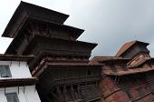 Ancient Temples At The Kathmandu Durbar Square During Monsoon