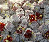 Close-up Of Turkish Delight In The Spices Bazaar Of Istanbul
