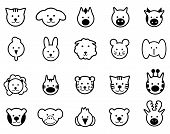 Vector black animals icons set