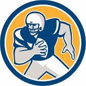American Football Qb Player Running Circle Retro
