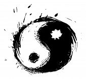 stock photo of ying yang  - Chinese symbol of harmony created in grunge style - JPG