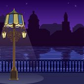 Illustration of city skyline at nigh: quay, fence and lamppost