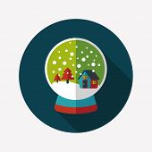 Snow Globe And Gifts Flat Icon With Long Shadow