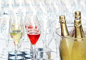 Pouring Glasses Of Champagne For An Event