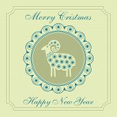 Sheep Patterns Card Christmas New Year Design