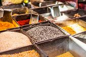 Traditional Spices And Dry Fruits In Local Bazaar In India.