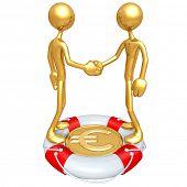 Gold Guys Handshake Lifebuoy Euro Concept