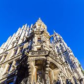 Detail Of The Town Hall On Marienplatz, Munich