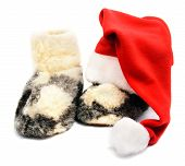 Red Santa Hat And Warm Woolen  Boots - Christmas Or New Year's concept