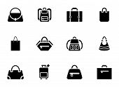 Assortment of Black Baggage Icons