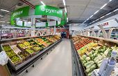 Samara, Russia - September 28, 2014: Interior Of The Hypermarket Karusel. One Of Largest Retailer In