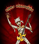 Halloween Graphic with Mummy Playing Guitar