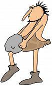 Caveman carrying a boulder