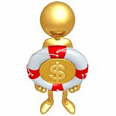 Gold Guy With Lifebuoy Dollar Coin