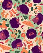 Seamless Pattern With Hedgehogs And Autumn Leaves