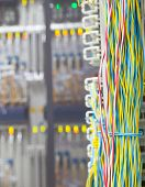 Stack Of Colorful Electronic Wire In Socket Board Of Ditig Tal Telecommunication Control Room