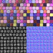 Glass Tiles Seamless Generated Texture (Diffuse, Bump, Normal)