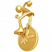 Gold Guy On Yen Coin Unicycle