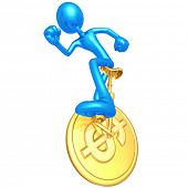 3D Character On Dollar Coin Unicycle