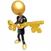 Gold Guy Businessman Key To Success