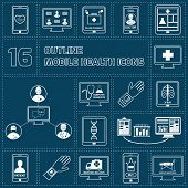 Mobile health icons set outline
