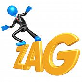3D Businessman Character Surfing On Zag