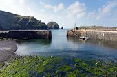 Mullion harbour The Lizard peninsula south Cornwall UK situated on Mounts Bay near Helston
