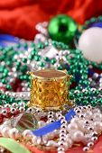 Christmas Decorations, New Year Invitation Card, Drums, Pearls And Xmas Balls