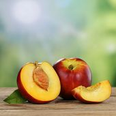 Nectarine Fruits In Summer With Copyspace