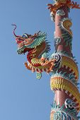 stock photo of dragon head  - Head dragon statue at shrine background with blue sky in Thailand. ** Note: Soft Focus at 100%, best at smaller sizes - JPG