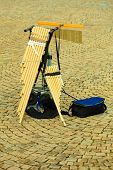 image of wind instrument  - Musical wind instrument pan flute outdoor on street - JPG