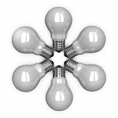 White Tungsten Light Bulbs Lying Radially