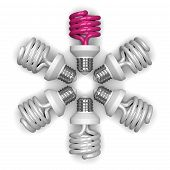 pink Spiral Light Bulb And White Ones Lying Radially