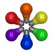 colored Tungsten Light Bulbs Lying Radially