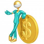 Gold Guy Doctor With Dollar Coin
