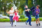 Friends, Boys Fight On Schoolyard