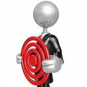 3D Character Businessman Holding A Target
